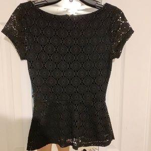 Black Peplum Dress Top